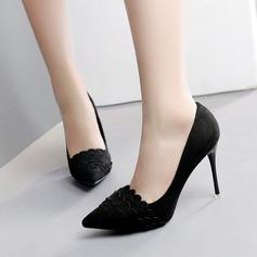 Femmes Suède Talon stiletto Escarpins Bout fermé avec Plissé chaussures