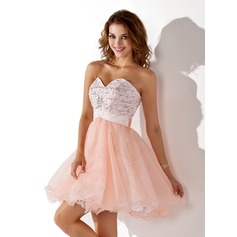 A-Line/Princess Sweetheart Short/Mini Satin Organza Homecoming Dress With Beading Sequins