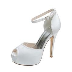 Vrouwen Satijn Stiletto Heel Peep Toe Pumps Sandalen met Gesp