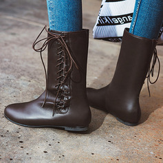 Women's PU Low Heel Mid-Calf Boots With Lace-up shoes