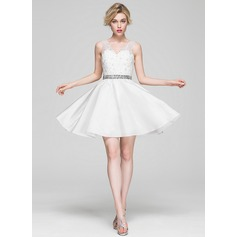 A-Line/Princess V-neck Knee-Length Satin Lace Cocktail Dress With Beading Sequins (016081185)