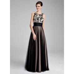 Vestidos princesa/ Formato A Decote redondo Longos Tule Vestido de baile com Pregueado Renda