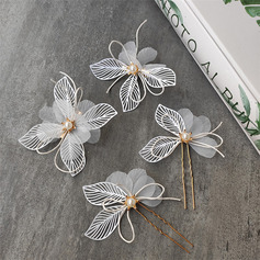 Pretty Alloy/Voile Hairpins With Venetian Pearl (Set of 8) (042230489)