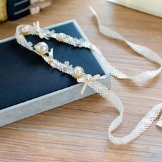 Spets/Siden blomma Pannband med Strass/Venetianska Pärla (Säljs i ett enda stycke)