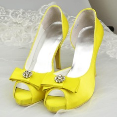 Women's Satin Stiletto Heel Peep Toe Sandals With Bowknot