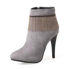 Frauen Veloursleder Stöckel Absatz Absatzschuhe Stiefel Stiefel-Wadenlang mit Reißverschluss Kette Schuhe