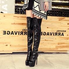 Frauen Lackleder Stöckel Absatz Absatzschuhe Plateauschuh Stiefel über Knie mit Reißverschluss Zuschnüren Schuhe