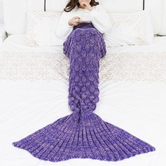Crochet Stripe Pattern Mermaid Tail Shape Blanket,90*55 (Sold in a single)