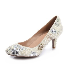 Women's Patent Leather Stiletto Heel Closed Toe Pumps With Imitation Pearl Rhinestone Jewelry Heel Crystal