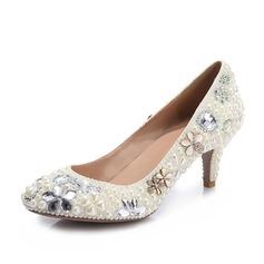 Frauen Lackleder Stöckel Absatz Geschlossene Zehe Absatzschuhe mit Nachahmungen von Perlen Strass Schmuckabsatz Kristall (047109416)