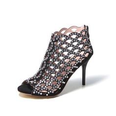 Stöckel Absatz Sandalen Absatzschuhe Stiefel mit Strass Hohl-out Schuhe