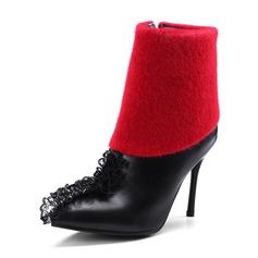 Femmes PU Talon stiletto Escarpins Bottes avec Plissé Zip chaussures