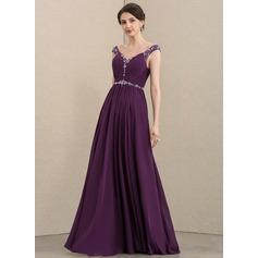 Corte A Decote V Longos Tecido de seda Vestido para a mãe da noiva com Pregueado Beading lantejoulas