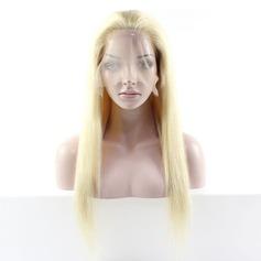 Straight Mänskligt hår Full Lace Cap Parykar