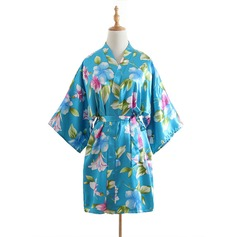 Bride Bridesmaid Polyester With Short Floral Robes Kimono Robes (248150354)