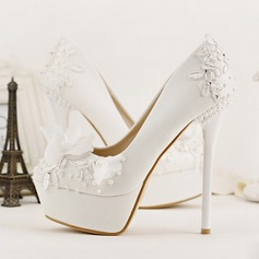 Women's Leatherette Stiletto Heel Closed Toe Platform Pumps With Imitation Pearl Flower (047104087)