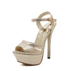 Femmes PU Talon stiletto Sandales Escarpins Plateforme À bout ouvert avec Boucle Talon de bijoux chaussures