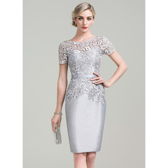 Sheath/Column Scoop Neck Knee-Length Taffeta Lace Mother of the Bride Dress (008085295)