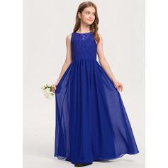 A-Linie U-Ausschnitt Bodenlang Chiffon Spitze Kleid für junge Brautjungfern (009208577)