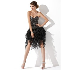 A-Line Sweetheart Knee-Length Organza Cocktail Dress With Beading (016006686)