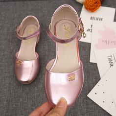 Fille de Bout fermé Cuir en microfibre Low Heel Chaussures plates Chaussures de fille de fleur