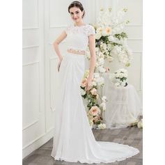 Trumpet/Mermaid Scoop Neck Sweep Train Chiffon Lace Wedding Dress