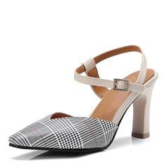Kvinner PU Stor Hæl Sandaler Pumps med Spenne sko