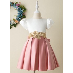 A-Line Knee-length Flower Girl Dress - Satin Short Sleeves High Neck