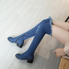 Women's Denim Low Heel Flats Knee High Boots With Others shoes
