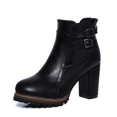 Donna PU Tacco spesso Stiletto Stivali Stivali alla caviglia con Fibbia Fascia di gomma scarpe