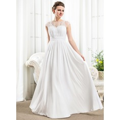 A-Line Illusion Floor-Length Chiffon Wedding Dress With Ruffle Beading Appliques Lace Sequins