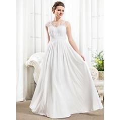 A-Linje Illusion Golvlång Chiffong Bröllopsklänning med Rufsar Beading Applikationer Spetsar Paljetter