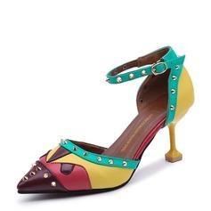 Vrouwen PU Stiletto Heel Pumps Closed Toe met Klinknagel schoenen