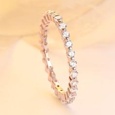 925 Sterling Sølv med Runde Terningformet Zirkon Ringe/Stabelbare Ringe