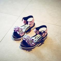 Fille de similicuir talon plat À bout ouvert Chaussures plates avec Strass Velcro Une fleur Rivet