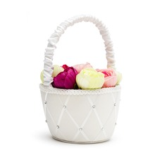 Classic Flower Basket in Satin With Rhinestones