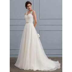 A-Line/Princess V-neck Sweep Train Organza Wedding Dress With Beading Bow(s) (002118436)
