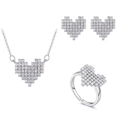 Ladies' Sweet Heart Copper/Zircon Jewelry Sets For Bride/For Bridesmaid/For Mother/For Friends/For Couple