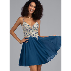 A-Line V-neck Short/Mini Chiffon Prom Dresses With Beading (018230674)