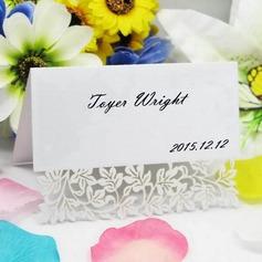 Elegante Disegno del fiore Perla Carta Segnaposti