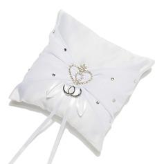 Rhinestone Heart Ring Pillow in Satin With Sash