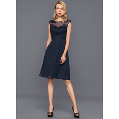 A-Line/Princess Scoop Neck Knee-Length Chiffon Cocktail Dress With Ruffle (016140375)