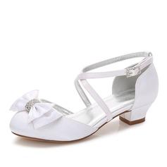 девичий Круглый носок Закрытый мыс Мэри Джейн Шелковый Как атласная низкий каблук Обувь для девочек с бантом горный хрусталь