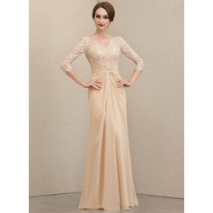 Sheath/Column V-neck Floor-Length Chiffon Lace Evening Dress With Ruffle