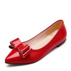 Kvinner Patentert Lær Flat Hæl Flate sko Lukket Tå med Bowknot sko