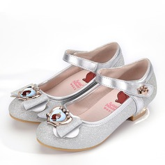Girl's Round Toe Closed Toe Microfiber Leather Low Heel Flower Girl Shoes With Bowknot Velcro