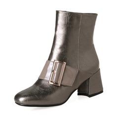 Donna PU Tacco spesso Stiletto Stivali Stivali alla caviglia con Fibbia Cerniera scarpe