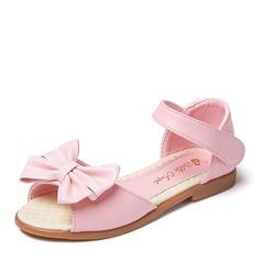 Flicka Peep Toe konstläder platt Heel Flower Girl Shoes med Bowknot Kardborre