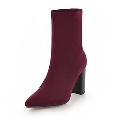 Frauen Stoff Stämmiger Absatz Stiefel Stiefel-Wadenlang Schuhe