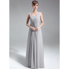 Vestidos princesa/ Formato A Decote V Longos Tecido de seda Vestido de Férias com Pregueado Beading lantejoulas